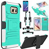 Note 5 Case, EC™ Hard Shock-Resistant Heavy Duty Armor Holster Protective Case Cover with Belt Swivel Clip + Kickstand for Samsung Galaxy Note 5 (A Turquoise/Grey)