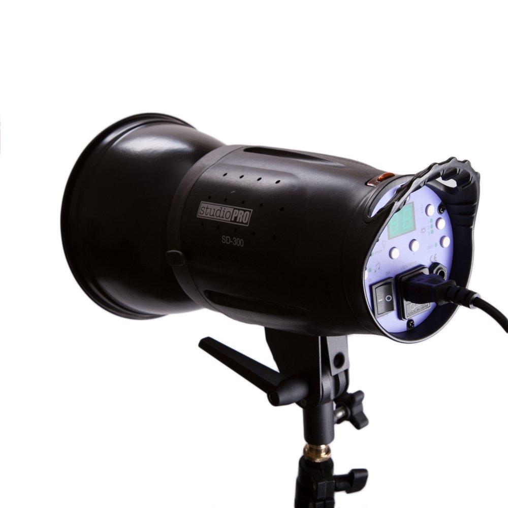 Fovitec StudioPRO 300 Watt SD-300 Monolight Flash Strobe Light with S-type Bowens Style Mount and 7'' Standard S-type Bowens Reflector, modeling lamp, for Portrait Location Photography Studio lighting