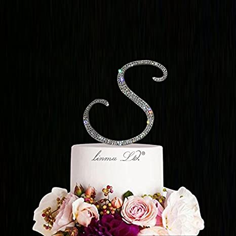 wedding cake thimble crystal initial letter s 6 inches