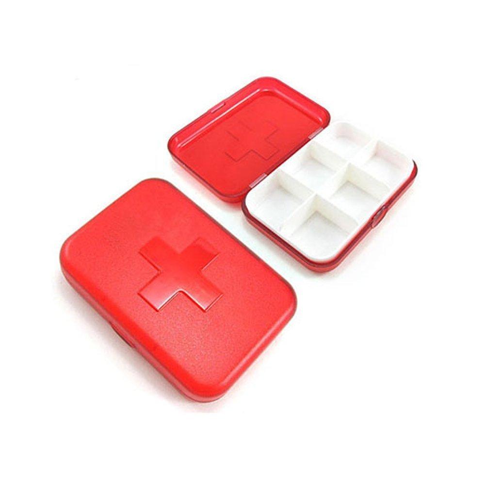 HuaYang 6-Slots mini bo/îte de pilule bo/îte de bijoux Rouge