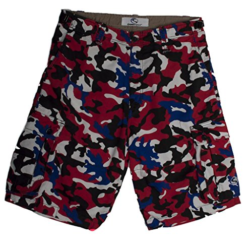 - CAMOsport Men's Cargo Short - Twill Large Red-White-Blue-Black