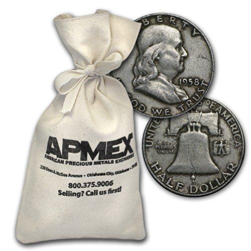 1948-1963 $1.00 Face Value 90% Franklin Halves Avg Circ Half Dollar Good