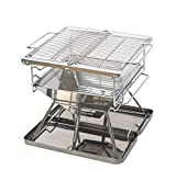 BHH-BBQ Outdoor Grill Charcoal Stainless Steel 3-8 People Portable Folding Multifunction Family Friends Outdoor Camping Picnic Garden Fishing Garden