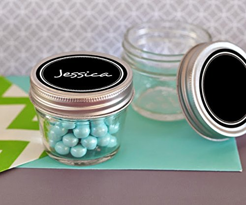 100 Small 4 oz Mason Jars with Vinyl Chalkboard Labels