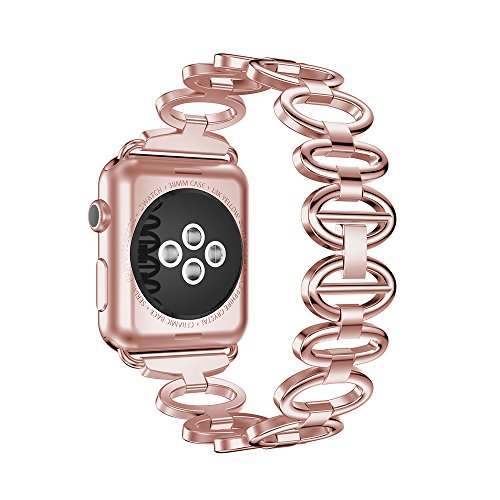 ANCOOL Apple Watch Band Elliptical Style Stainless Steel Smart Watch Band for Apple Watch Series 3/Series 2/Series 1 - 38mm Rose Gold