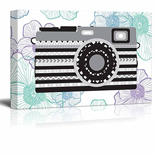 Gray zentangle camera on a vibrant cool toned floral background