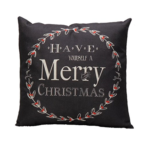Price comparison product image Pillow Cases ,IEason Clearance! Christmas Letter Sofa Bed Home Decoration Festival Pillow Case Cushion Cover (Black)