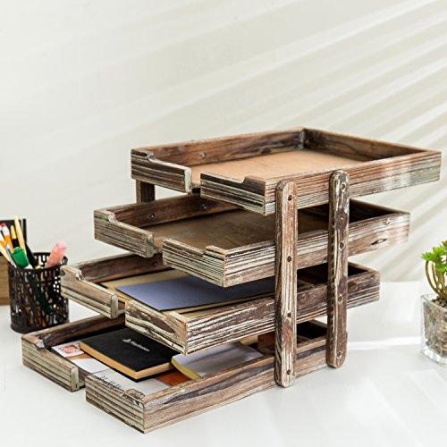 4-Tier Distressed Brown Wood Desktop Document Paper Organizer Collapsible & Expandable Stacking Trays by MyGift (Image #1)