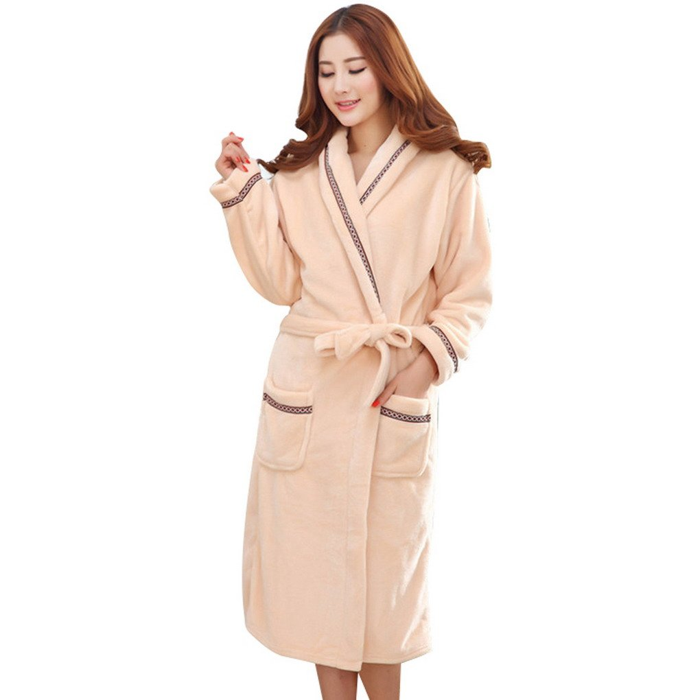 Womens Luxury Flannel Soft Bath Robe Dressing Gown Housecoat With Belt ACMEDE