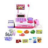 Toy Cash Register for Kids Role Play Supermarket Food Shopping Playset with Simulation Swiping Card Sounds Education Teaching Calculator for Toddlers Pink 36 Pcs 3 Age up