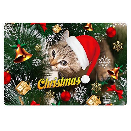 FOR U DESIGNS Christmas Doormat Indoor Outdoor Comfortable Floor Carpet Room Mat Bath Rug Cute Cat from FOR U DESIGNS