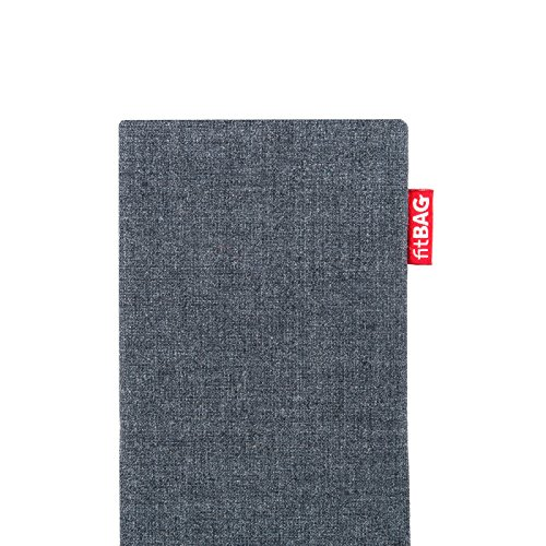 fitBAG Jive Gray custom tailored sleeve for Apple iPhone X. Fine suit fabric pouch with integrated MicroFibre lining for display cleaning by fitBAG (Image #3)