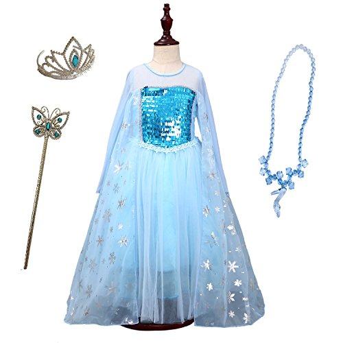 FamilyCrazy Ice Queen Elsa Girl's Princess Frozen Dress-up
