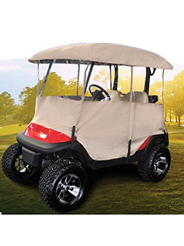 Golf Cart Enclosure Rain Cover, All Weather Deluxe 4-Sided for 2 Passenger Club Car EZ Go Yamaha G Model, Tan -