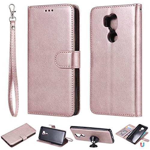 Ostop Wallet Case for LG G7/LG G7 ThinQ,Rose Gold Premium PU Leather Case with Card Holder Magnetic Detachable Slim Fit Stand Flip Cover Full Body Protection for LG G7/G7 ThinQ