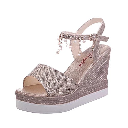 Sandals For Womens -Clearance Sale ,Farjing Fashion Women Peep Toe Hanging beads Buckle Strap High Heels Wedge Slope Sandals(US:6.5,Glod) -