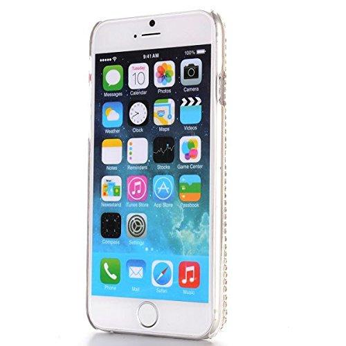 Etui rigide / Cover Apple iPhone 6, 4,7 pouces, BLING strass diamant Hard Case Quatrième de couverture Shell diamant rose et blanc
