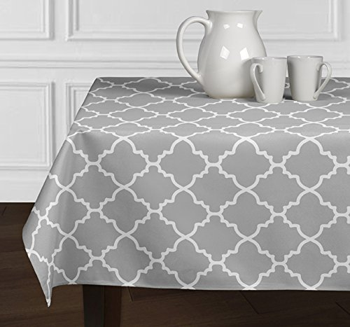 A LuxeHome Grey and White Modern Contemporary Trellis Tablecloth Dining Room Kitchen Rectangle Oblong 60″ x 120″