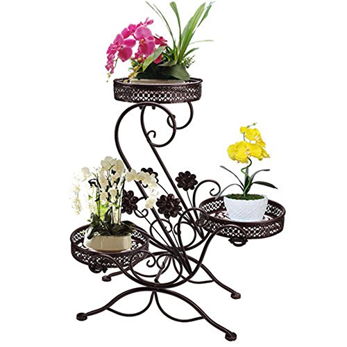 AISHN 3-Tiered Scroll Classic Plant Stand Decorative Metal Garden Patio Flower Pot Rack Display Shelf Holds 3-Flower Pot with Modern