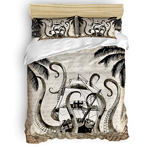 MuswannaA 4 Piece Set Duvet Cover - Full Size Bedding Set,1 Comforter Cover, 1 Fitted Sheet, and 2 Pillow Cases Pirate Sailboat Octopus Old Paper Style