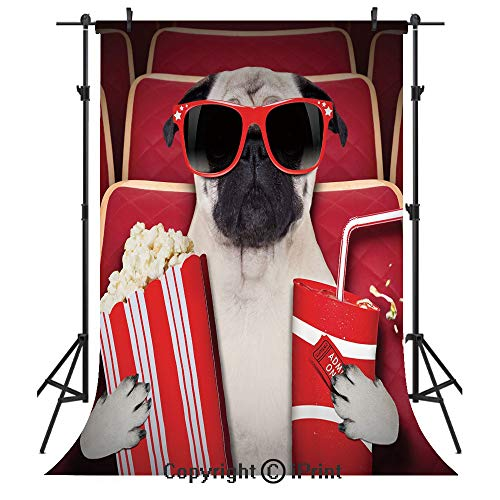 Pug Photography Backdrops,Funny Dog Watching Movie Popcorn Soft Drink and Glasses Animal Photograph Print,Birthday Party Seamless Photo Studio Booth Background Banner 5x7ft,Red Cream Ruby