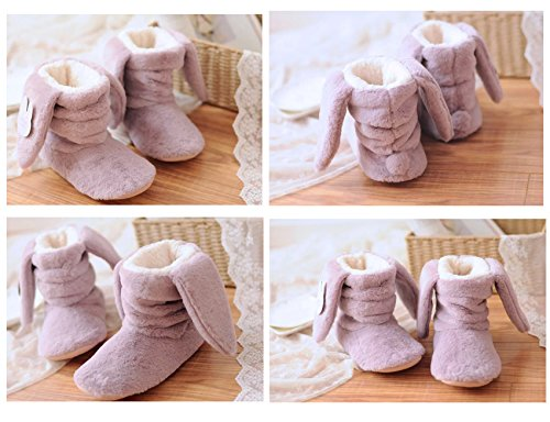 Carino Bunny Girls Donna Inverno Caldo Casa Scarpe Coniglio Velluto Stivali Interni Viola Pistone