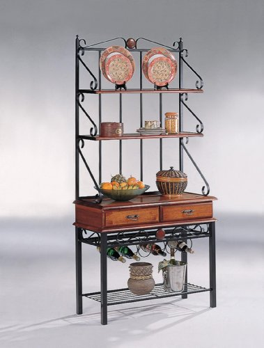 2-Drawer Baker's Rack with Wine Rack Tobacco