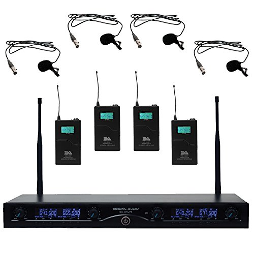 Seismic Audio SA-U4LV6 4 Channel UHF Wireless Microphone System with 4 Lavalier Wireless Microphones by Seismic Audio