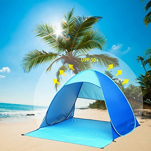 Summer Beach Tent, Sun Shelter Pop Up Tent, Portable Beach Tent Outdoor Shade Tent for Garden Fishing Hiking Picnic Protective Anti UV Camping Tent Quick Easy Set Up with Carry bag (2-3 Persons) (People Camping Tents)