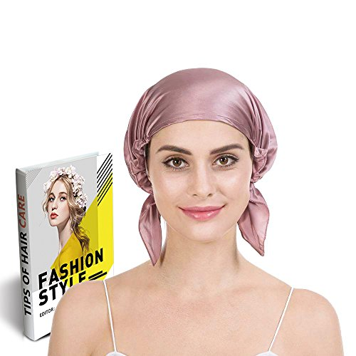 (Savena 100% Mulberry Silk Night Sleeping Cap for Long Hair Bonnet Hat Smooth Soft Many Colors, Hair Care Ebook Included (Cameo))