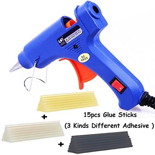Geli Hot Melt Glue Gun Kit High Temperature Adhesive Mini Hot Glue Gun 20 Watts with 3 Kinds Repair Glue Sticks