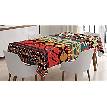 Native American Decor Tablecloth By Ambesonne, Classic Traditional Aztec  Pattern Image With Bird Flower Arrow