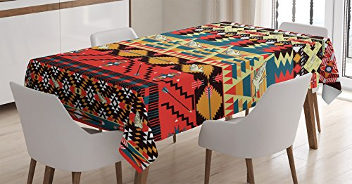 Ambesonne Native American Decor Tablecloth, Classic Traditional Aztec  Pattern Image with Bird Flower Arrow Natural Ethnic Decor, Rectangular  Table