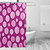 Hot Pink Polka Dot Shower Curtain LORVIES Hot Pink Polka Dots Shower Curtain Polyester Fabric Water Repellent Mildew Resistant Shower Curtain for Bathroom Bathtubs Decorative, 66W X 72L Inches