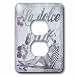 3dRose lsp_268462_6 Retro Woman in Swimsuit and Text La Dolce Vita in Grey Plug Outlet Cover, Mixed