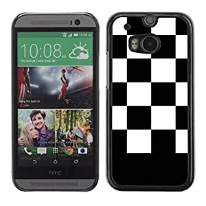 Graphic4You Checkered Pattern Design Hard Case Cover for HTC One (M8) (Black)