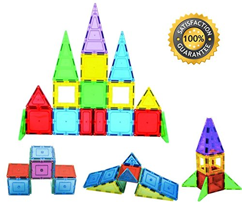 gnetic Building Tiles Set - Construction Toys For Kids ~ Magnet blocks for girls and boys, toddlers and preschoolers ~ 32 pieces educational creative game toy set for children ()