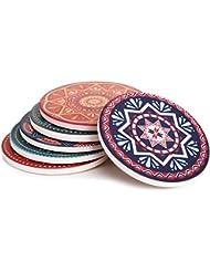 "Lifver 6-Piece Absorbent Stone Coaster set,""drink"" spills coasters, Mandala Style …"