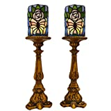 River of Goods 13957S Butterfly Stained Glass LED Battery Operated Candle Holders (Set of 2), 17''