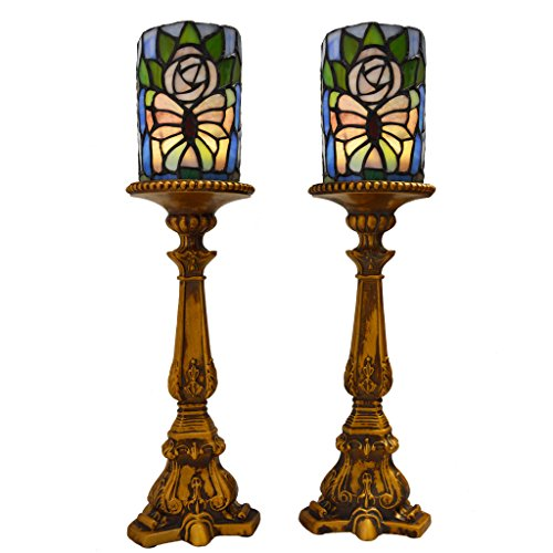 River of Goods 13957S Butterfly Stained Glass LED Battery Operated Candle Holders (Set of 2), 17'' by River of Goods
