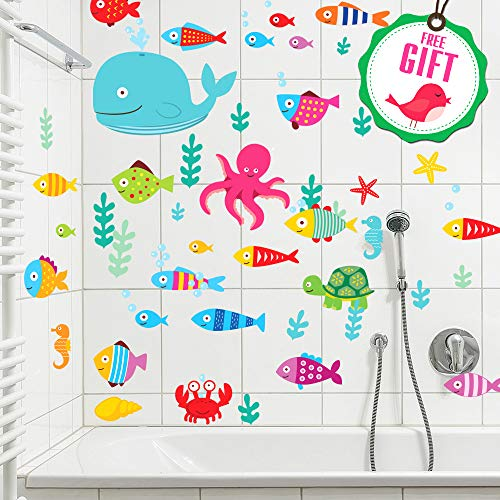 Ocean Fish Wall Decals - Sea Whale Turtle Tropical Creatures Bathroom Stickers [>50 Art Decals] with Free Gift! (A Lot Like Birds No Place Vinyl)