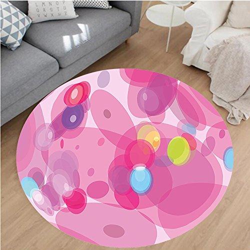 Nalahome - Alfombra de franela de microfibra antideslizante, lavable a máquina, redonda, con cajón, flamencos en colores...