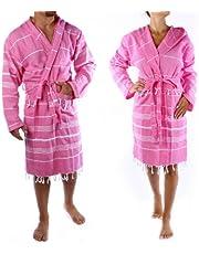 Cacala Hooded Bathrobe Pestemal Fabric 100% Turkish Cotton Kimono Unisex