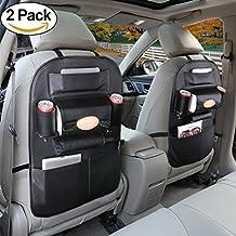 Back Seat Organizer, Big Ant Universal Car Travel Multi-Pocket Storage Bag, Car Kick Mat Tidy Protector, Black (2 Pack)