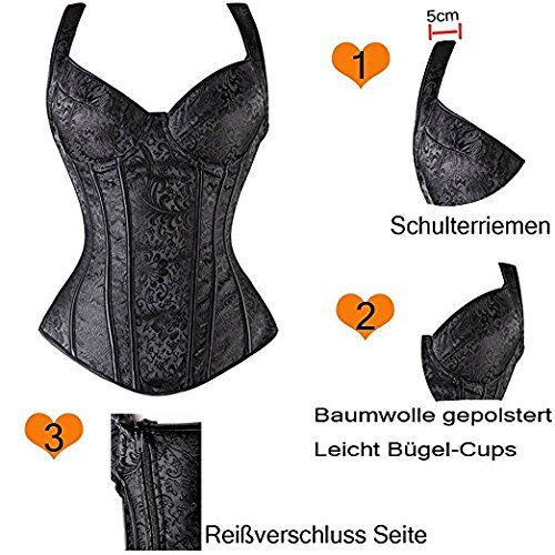 FeelinGirl - Corsé - para mujer Mesh-Schwarz