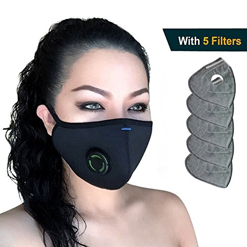 N99 Respirator Dust Mask - Military Grade Activated Carbon Filtration Multi-Layer Protection from Pollution Pollen Allergy Washable PM2.5 Half Face Mask w/Valve Men Women ()