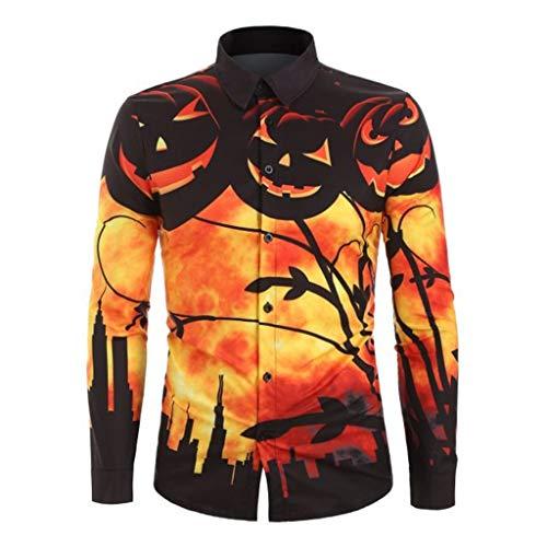 NIUQI Men's Autumn Fashion Casual Halloween Printed Long-Sleeved Top Blouse Shirt