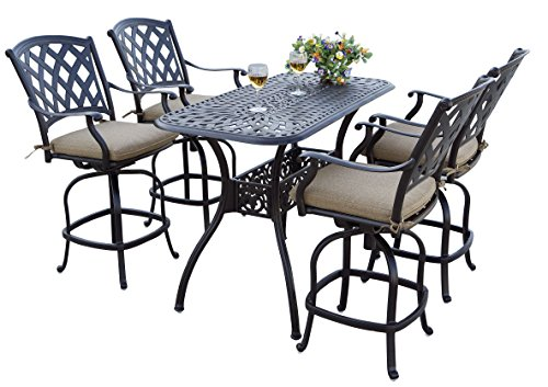 Darlee 5 Piece Ocean View Cast Aluminum Counter Height Bar Set with Seat Cushions, 26'' x 52'', Antique Bronze Finish - Counter Height Dining Furniture
