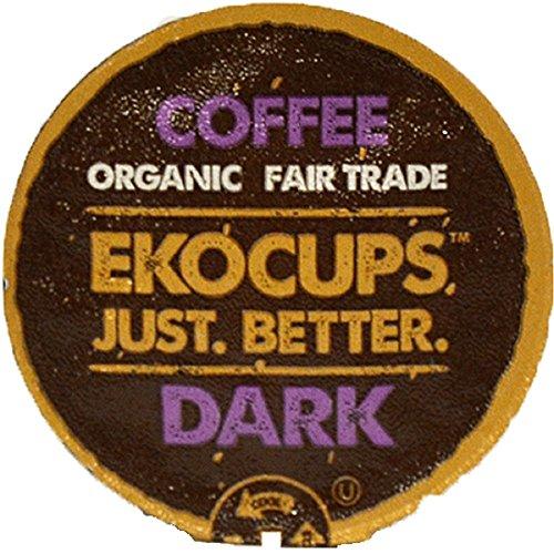 (EKOCUPS Artisan Organic Dark Coffee, Dark Roast, in Recyclable Single Serve Cups for Keurig K-cup Brewers, 40)