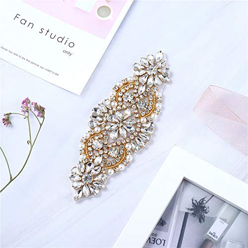 XINFANGXIU Wedding Sash Belt Applique, Crystal Rhinestone Applique Pearls Beaded Embellishments Handcrafted Sparkle Sewn or Iron on for Bridal Dresses Women Gown Evening Prom Clothes - Gold from XINFANGXIU